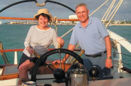 Marion and Jim Applegate enjoy sailing